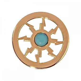 Nikki Lissoni Turquoise Thunder Small Gold Plated Coin C1235GS