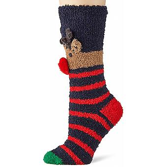 Joules Christmas Fluffy Calcetines para Mujer (4-8) - Navy Reindeer