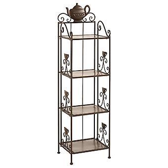 Heine domu dekoracyjne metalowe półka 4 półki filigranowych ozdoby brązowy około 108/30/26 cm