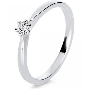 Bague en diamant - 14K 585/- or blanc - 0.15 ct. Taille 52