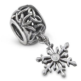 Outlander Ilham İskoç Highland Interlace Snowflake Şekil Bilezik Boncuk Charm Celtic Trinity Knot ile