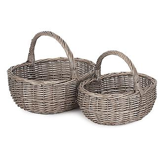 Set di 2 Non foderati Antique Wash Bagno Bagno Shopping Basket