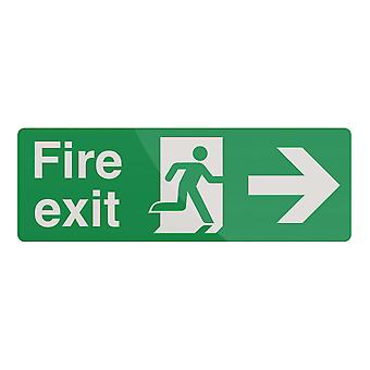 Fire Exit Arrow Sign - 400x150mm PL Right