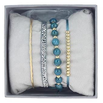 Les Austauschbares Armband A54339 - Strass Box Jonc Fil Blau grau Frauen