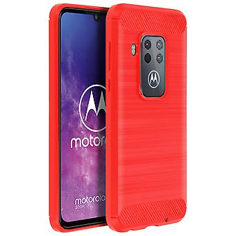 Carbon Fiber skjold sag, silikone Cover aluminium effekt Motorola en zoom rød