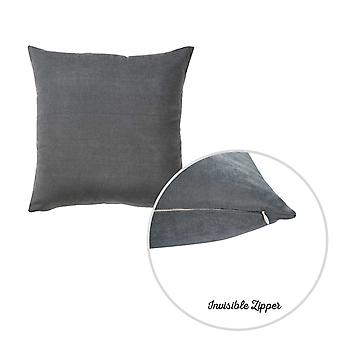 Set of 2 Gray Brushed Twill Decorative Throw Pillow Covers