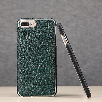 IPhone 8 PLUS, 7 PLUS tapauksessa Fierre Shann Crocodile aitoa nahkaa kansi, vihreä
