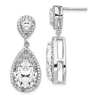 13mm Cheryl M 925 Sterling Silver Fancy CZ Cubic Zirconia simuleret Diamond Dingle Post Øreringe smykker Gaver til kvinder
