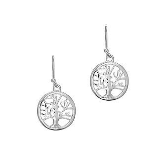 925 plata de ley con rhodium acabado brillante 17x33mm round tree of life Long Drop Colgante Pendientes con J gancho joyería G