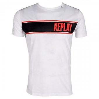 Replay Logo Print T-Shirt Weiß M3004