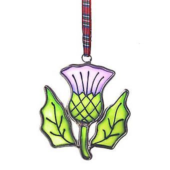 Islandcraft Thistle Stained Glass Hanging Ornament