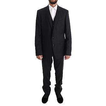 Dolce & Gabbana Gray Wool Gold Slim Fit 3 Piece Suit