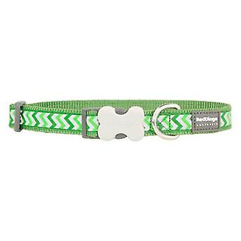 Red Dingo Dog Collar Reflective Ziggy Green M