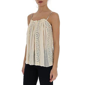 Semi-couture Y0sw50a36 Women's Beige Cotton Top