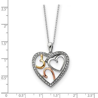Polished Gift Boxed Spring Ring Rhodium plated Accent Yellow Rose gold plating Love Heart Necklace 18 Inch Jewelry Gifts
