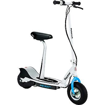Razor E300S Electric Scooter With Seat White and Blue Ages 13 Years+