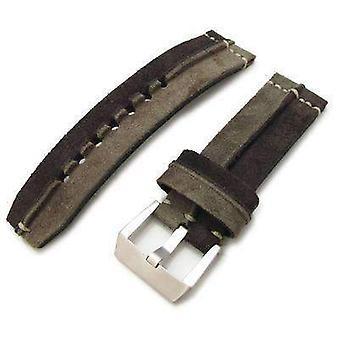 Strap strap de montre en tissu Strapcode 24mm miltat kaki - d courroie de montre en daim de conception de crête brune, point de main beige