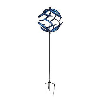 Azul metal arte dupla fiação vento apanhador jardim estaca