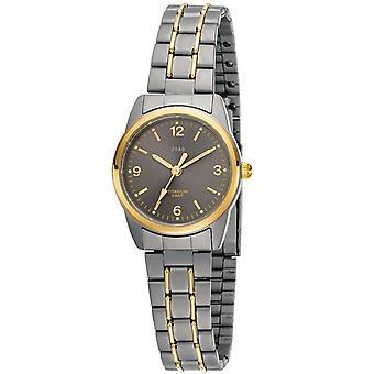 JOBO reloj de pulsera para mujer cuarzo analógico titanio bicolor chapado en oro