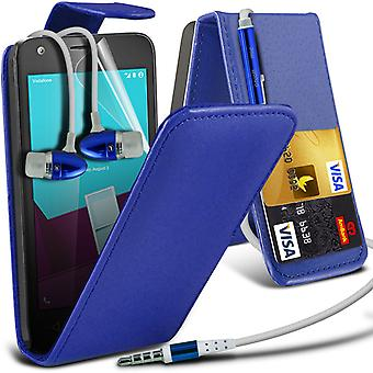 i-Tronixs Vodafone Prime 7 Case Cover PU Leather Flip Case + Earphones -Blue