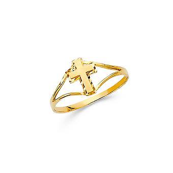 14k Sarı Altın Erkek ve Kız CZ Kübik Zirkonya Simüle Elmas Yüzük Boyut 3 - 0,6 Gram