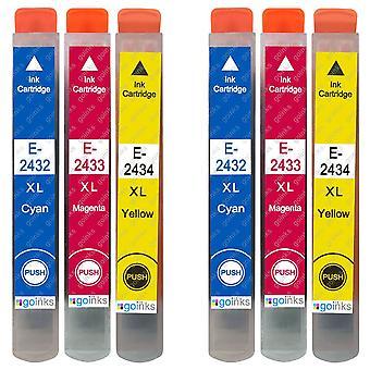 2 Sett med 3 blekkpatroner for å erstatte Epson T2438 (24XL-serien) C/M/Y-kompatibel/ikke-OEM fra Go-blekk (6 blekk)