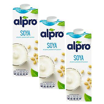 Alpro Soja Original Milch trinken Zucker FREE Low Fat Vegeterian Drink 1 Liter x 3