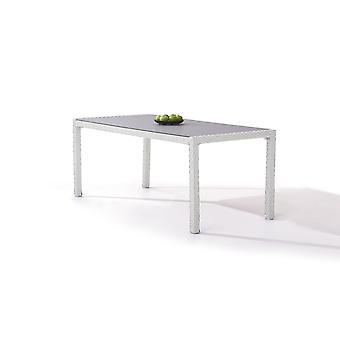 Polyrattan Esstisch 180 cm - weiß satiniert