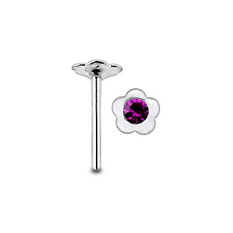 Jeweled Flower Straight Nose Pin