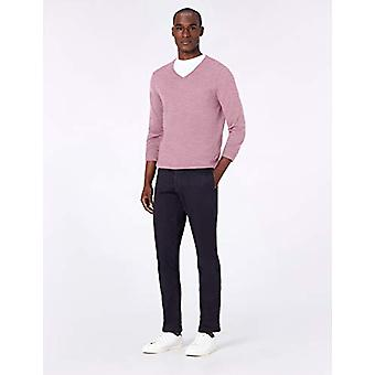 MERAKI Män's Fine Merino Wool V-Neck Jumper, Rosa (Medium Pink Marl), Medium