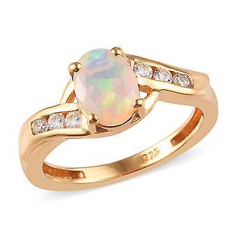 Bypass Opal Ring Sterling Sølv 14ct Forgyldt cambodjanske Zircon TJC
