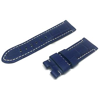 Crocodile grain calf leather watch strap blue premium strap for 22mm to 24mm