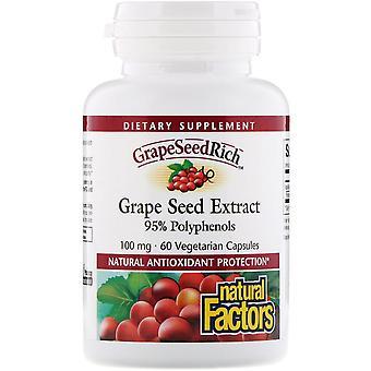 Natural Factors, Grape Seed Extract, 95% Polyphenols, 100 mg, 60 Vetegarian Caps