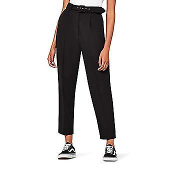 FIND Women's Belted Trousers, Black, W32 x L32