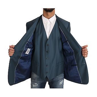 Dolce & Gabbana Blazer Vest 2 Piece Blue Martini Wool KOS1187-1