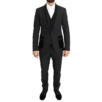Dolce & Gabbana Siyah İpek Torrero Slim Fit 3 Parça Takım KOS1107-1