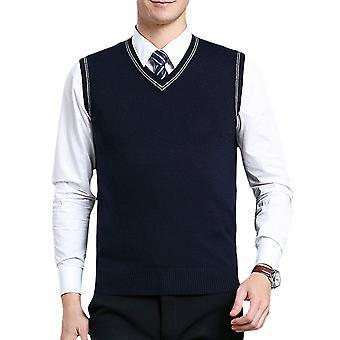 Allthemen Men's Casual Classic Automne V-cou Rhombus Solide Sweater Vest