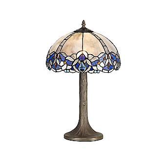Luminosa Beleuchtung - 1 Licht Baum wie Tischleuchte E27 mit 30cm Tiffany Schatten, blau, klar Kristall, alteralter antiker Messing