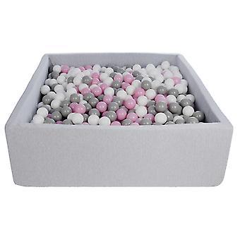 Poço de bola quadrada 120x120 cm com 1200 bolas brancas, roxas claras e cinza