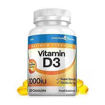 Vitamine D D3 1.000 IU Soft Gel Capsules - 120 Soft Gel Capsules - Vitamine Supplement - Evolution Slimming