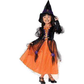 Girls Age 5 - 10 Years Witch Costume Black And Orange Halloween Fancy Dress