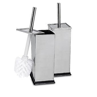 Square Steel Bathroom Toilet Brush & Holder Set - Chrome - Pack of 2