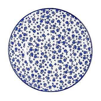 Nicola Spring Daisy Patterned Side Plate - Small Porcelain Dining Dish - Navy Blue - 19cm