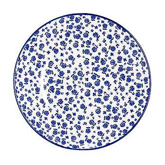 نيكولا ربيع ديزي لوحة جانبية منقوشة - صغير طبق تناول الطعام الخزف - الأزرق البحرية - 19cm