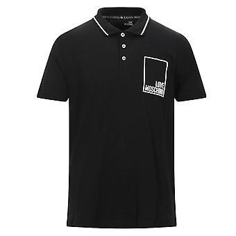 Kjærlighet Moschino Box Logo Svart Polo Skjorte
