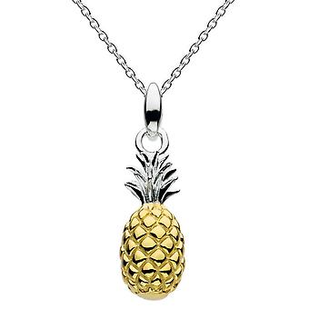 Dug sterling sølv 3D ananas med guldplade vedhæng 9464GD015