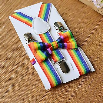 Kids Girls Boys Rainbow Multicolor Braces Suspenders And Bow Tie Set Multicolor