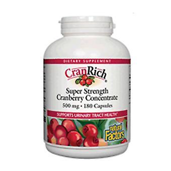 प्राकृतिक कारक क्रैनरिच सुपर स्ट्रेंथ कॉन्सेंट्रेट, 500 मिलीग्राम, क्रैनबेरी 180 कैप्स