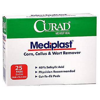Curad Mediplast Corn Callus & Wart Remover, 2 inches x 3 inches, 25 Each