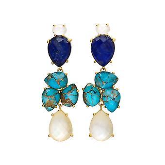 Gemshine Boucles d'oreilles DEEP BLUE bleu Lazuli Lazuli, turquoise en quartz pierre goutte